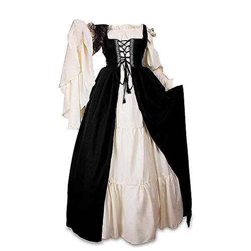 ABaowedding Womens's Medieval Renaissance Costume Cosplay Chemise and Over Dress 2X-large/3X-Large Black and -