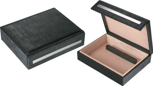 Visol Products VHUD80 Aspen Black Leather Travel Cigar Humidor with Humidifier