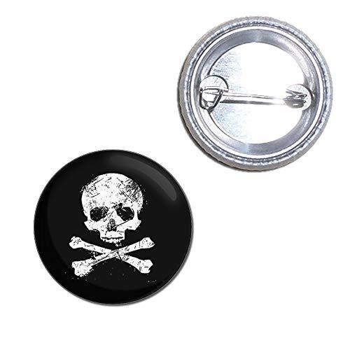 Distressed Skull & Crossbones - 25mm Button Badge