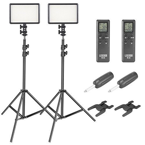 Neewer 308C LED Video Light and Stand Lighting Kit - 380 Pieces Dimmable LED Panel with Wireless remote Control and 6.5 feet Adjustable Light Stand for Canon Nikon Pentax Camera Camcorder (2-Pack) by Neewer