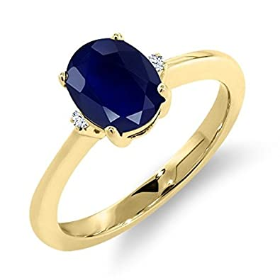 1.81 Ct Oval Blue Sapphire White Sapphire 18K Yellow Gold Ring