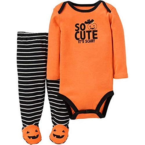 Baby Boys Halloween Onesie/Bodysuit and Footies ~ So Cute It's Scary ~ Pumpkin Footed Pant Set (Newborn, Orange/Black) ()