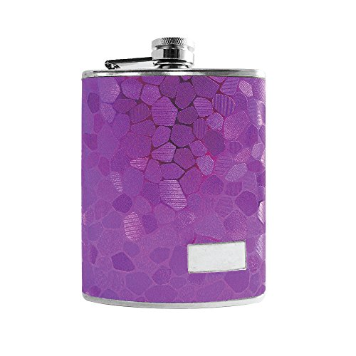 Textured Flask - Stainess Steel Flask for Drinking on the go - Purple Textured 6 oz Alcohol Liquor Spirit Drinking Flask