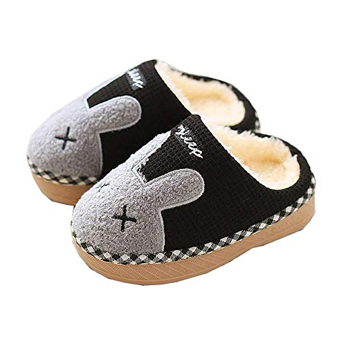 Boys Winter Bunny Home Black Slippers 7 Girls Cute Kids Warm Fur Indoor Luobote Toddler Shoes 0vRwIn
