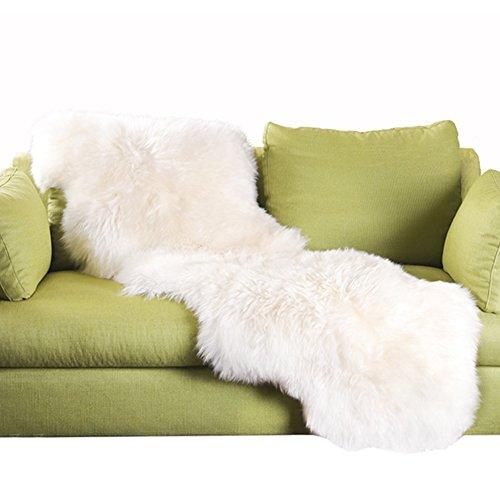 YJ.GWL Soft Faux Sheepskin Rugs White Plush Faux Fur Carpet for Bedroom Fluffy Area Rugs for Living Room Sofa Floor 2ft x 6ft