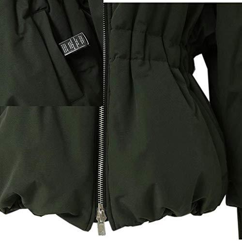 Avec Amuster Unie Slim Coton Femme Vert Couleur De Longues Veste Fermeture Glissière Et En Manches Coupe À PwTPR1
