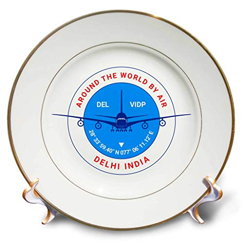 (3dRose Alexis Design - Around The World by Air - Round Badge, a Blue Airliner. Red Text Delhi India, Coordinates - 8 inch Porcelain Plate (cp_303398_1))