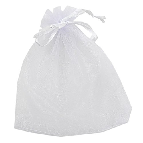 Jesica Approx 50pcs Organza Drawstring Candy Gift Bag Jewellry Pouch (White)