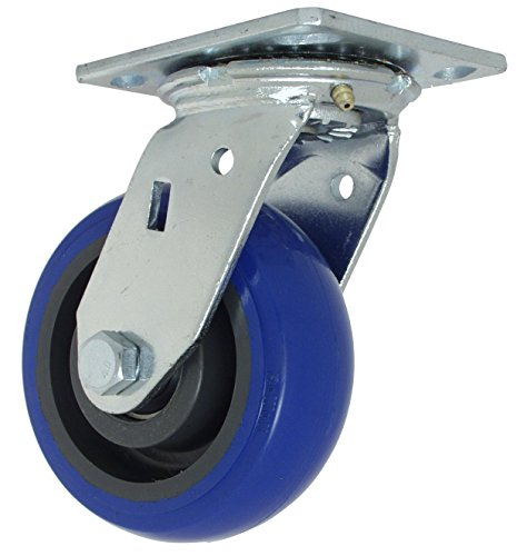 "RWM Casters 46 Series Plate Caster, Swivel, Rubber Wheel, Ball Bearing, 500 lbs Capacity, 5"" Wheel Dia, 2"" Wheel Width, 6-1/2"" Mount Height, 4-1/2"" Plate Length, 4"" Plate Width"