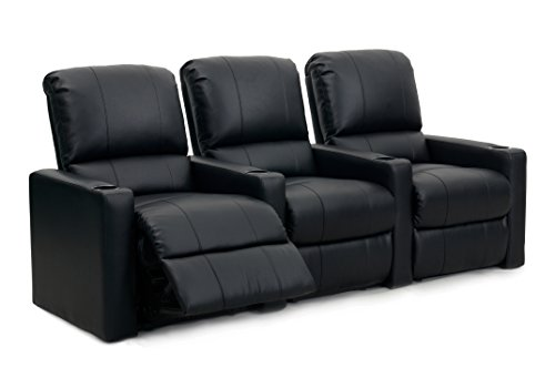 Octane Seating CHARGER-R3SM-BND-BL Octane Charger XS300 Leather Home Theater Recliner Set (Row of 3), Black