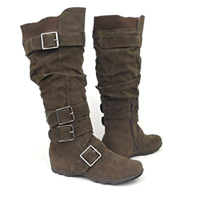 Womens Knee High Faux Suede Flat Winter Buckle Boots Dark Brown , 5.5