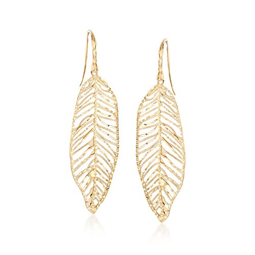 Ross-Simons 14kt Yellow Gold Leaf Drop Earrings