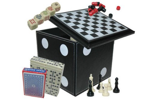 CHH 5 In 1 Dice Cube Game Set Chess/Dominoes/PokerDice/ Playing Cards 5 Game Combination Set, Black