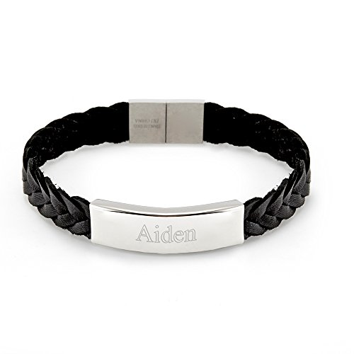 - Eve's Addiction Men's Braided Leather ID Bracelet