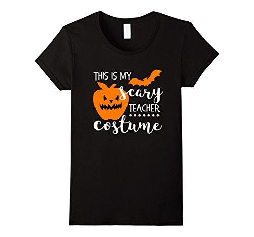 Womens This is My scary Teacher Costume Shirt Halloween Pumpkin Bat XL Black (Daycare Teacher Halloween Costumes)