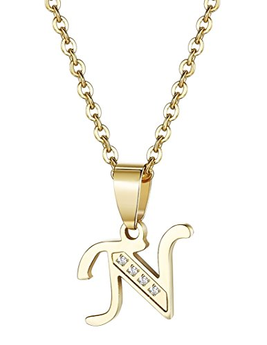 Udalyn Stainless Steel Alphabet Pendent Necklace CZ Chain for Men Women Gold-Tone N ()