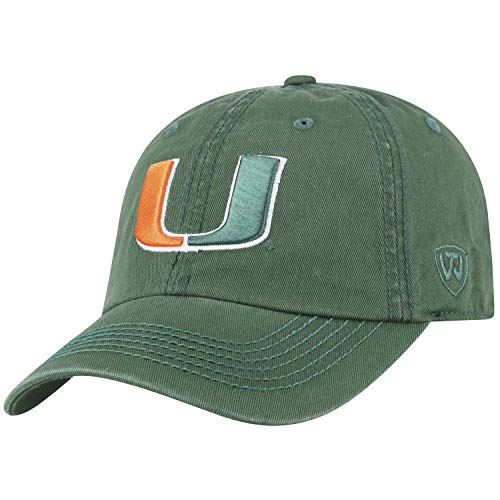 Hat Miami Top - Top of the World NCAA-Cotton Crew-City-Adjustable Strapback-Hat Cap-Miami Hurricanes-Green