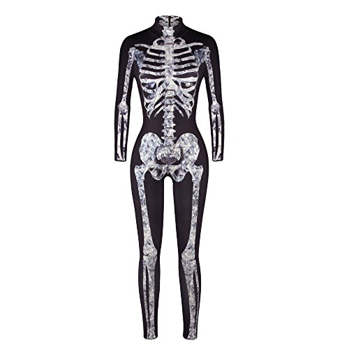 Halloween Costume, MagicQK Skeleton Jumpsuit for Zombie Party, 3D Printing Bones Dress Cosplay (XL, Moldy Bone)