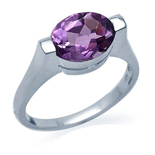2.2ct. Natural Amethyst 925 Sterling Silver Solitaire Ring Size 9