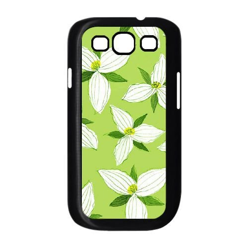 samsung s3 9300 Case,Hand-painted - Creative Design White Flowers and Light Green Background Durable Hard Plastic Scratch-Proof Protective Case,Black