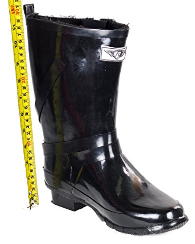 Warm Rubber Black Forever Lining Rain Young Faux Mid Rise Boots Women w Fur qF8fBFw