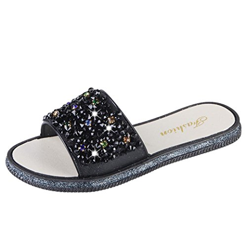 Shoes Toe Sparkly Glitter Lolittas Rhinestone Black Flat Fit Bling Women 7  Size Slipper Wide Open Cushioned Beach 2 Ladies Diamante Slip Sandals ... 98d1696577b6