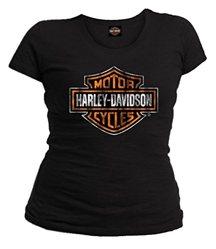 Harley-Davidson Women's Distressed Bar & Shield Short Sleeve - Black Harley Davidson Shirt