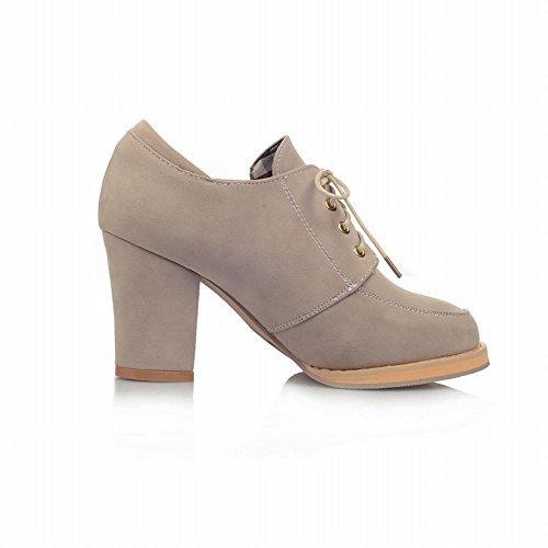 Carol Skor Elegans Kvinna Mode Spets-up Komfort Hög Chunky Klack Fotled Klänning Boots Beige