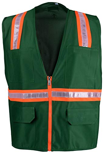 (Safety Depot Safety Vest High Visibility Reflective Tape with 4 Lower Pockets, 2 Chest Pockets with Pen Dividers 8038-GR (Green, Medium))