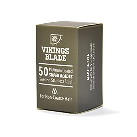 VIKINGS BLADE Swedish Steel Replacement Razor Blades, 50 Count (9 to 12 months supply), Mild & Safe (Shave Viking)
