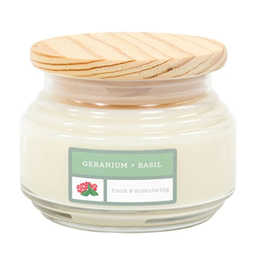 David Oreck Candle Company Essential Infusions Soy Aromatherapy Candles, Geranium + Basil, 10 oz, 60 hour burn time ()