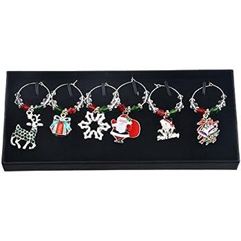 TOOGOO Mixed 6pcs Christmas Pendants Wine Glass Charms Marker Tag Set with Gift Box,snowflake