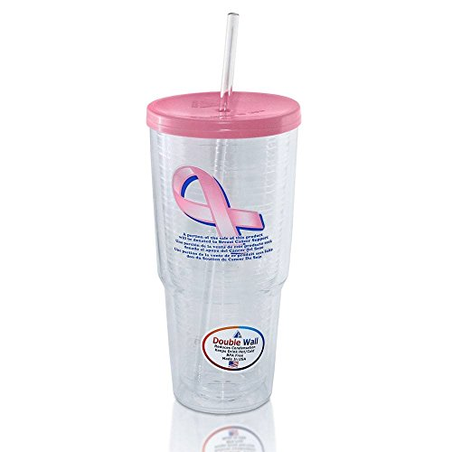 Breast Cancer Awareness Travel Tumbler with Straw (24 oz.)  Sweat and Condensation Proof Double Walled Insulation,  BPA Free,  Made in the USA,  Pink