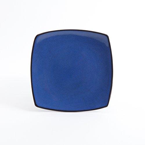 Large Product Image of Gibson Soho Lounge 16-Piece Square Reactive Glaze Dinnerware Set, Blue