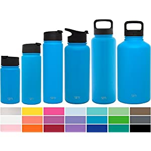 Simple Modern 18oz Summit Water Bottle + Extra Lid - Vacuum Insulated Stainless Steel Wide Mouth Hydro Travel Mug - Powder Coated Double-Walled Flask - Sky Blue