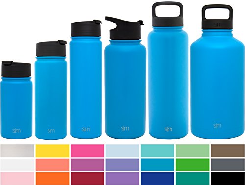 Simple Modern 32oz Summit Water Bottle + Extra Lid - Vacuum Insulated Stainless Steel Wide Mouth Liter Hydro Travel Mug - Powder Coated for Healthy Humans Flask - Sky Blue