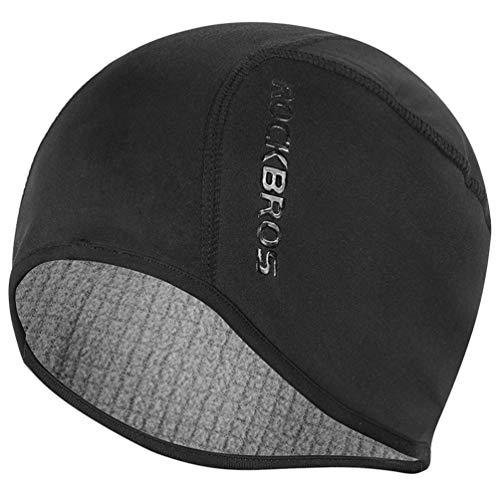 RockBros Skull Cap Men & Women Thermal Cycling Helmet Liner Moisture Wicking Motorcycle Running Hat,Fits Under Helmets Black