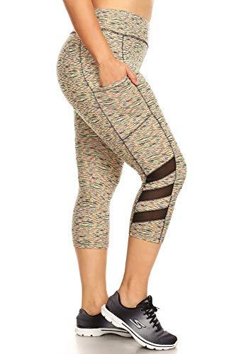 ShoSho Womens Plus Size Activewear Sports Leggings Pants Capris with Mesh Panels & Pockets Neon Space Dye Orange 2X