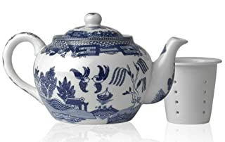 HIC Harold Import Co. 3726 6 Cup 32 oz Blue Willow Teapot, Fine White Porcelain, 32-Ounce (B0000CFNR2) | Amazon price tracker / tracking, Amazon price history charts, Amazon price watches, Amazon price drop alerts