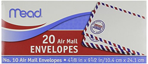 Mead #10 Airmail Envelopes, 20 Count (74260)