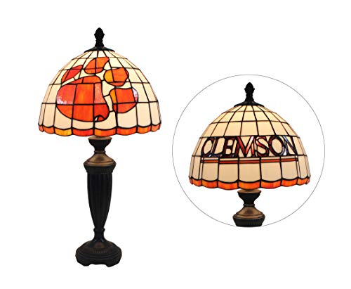 Tigers Desk Stained Glass - Yogoart 12-inch NCAA Clemson Tigers Stained Glass Table Lamp 24.8-inch Total Height