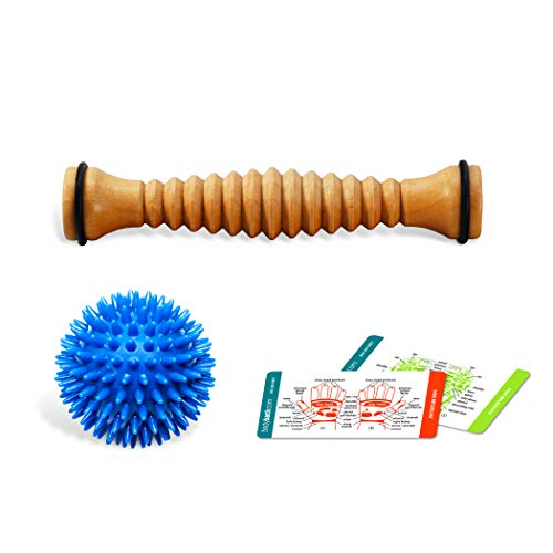 Wooden Body Roller - Body Back Company's Wooden Foot Roller & Soft Spiky Porcupine Massage Ball - Reflexology & Myofascial Release Tools for Pain Relief from Plantar Fasciitis, Heel Spurs & Sore, Tired, Cramped Muscles