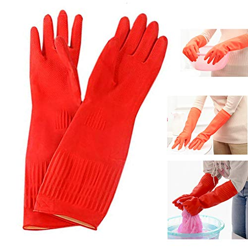 Lesirit Waterproof Household Gloves Long Sleeve Fleece Cuff Latex Cleaning Gloves from, 2 Pair Pack (B)