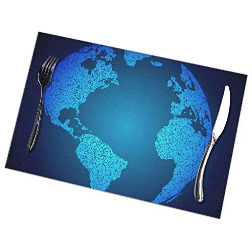 - Placemats,Heat-Resistant Washable Cotton Blue Earth Background Dots Placemats,Polyester Linen Dining Table Mats for Kitchen,Set of 6