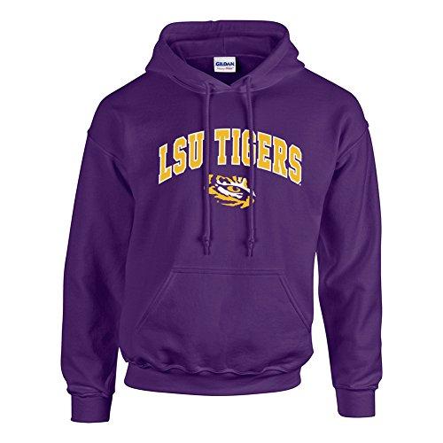 Elite Fan Shop NCAA Men's Lsu Tigers Hoodie Sweatshirt Team Color Arch Lsu Tigers Purple Medium - Tiger Hoodie Sweatshirt