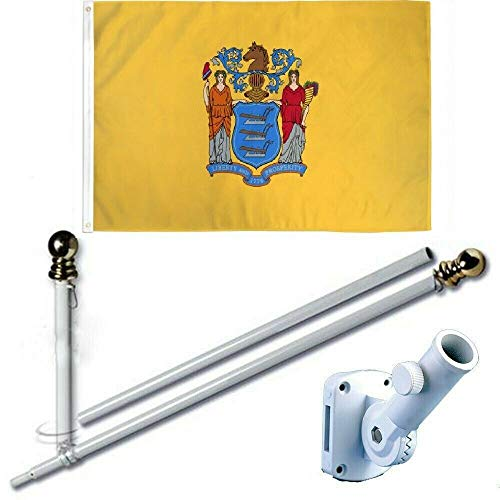 2'X3' American Home & Commercial 2x3 Ft New Jersey Flag Set Premium Printed Polyester w/Heavy Duty White Aluminum 6-Feet Spinning Tangle Free Flag Pole Bracket Residential & Commercial