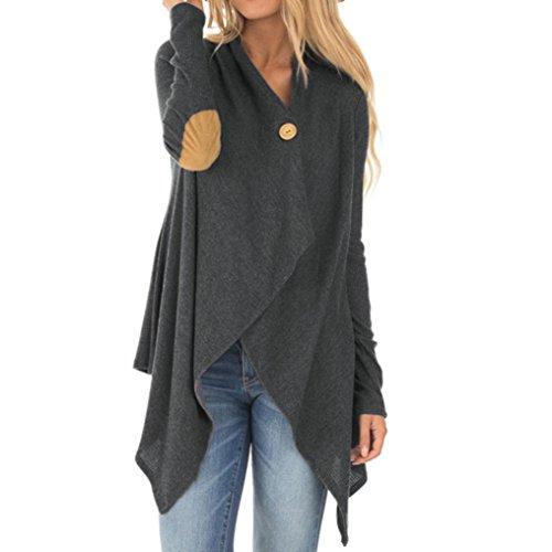Escudo, abrigo,Internet Abrigo largo Outwear abierto irregular del remiendo de la manga de las mujeres Gris