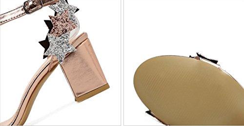Sandalen Damen Wort Schnalle Dick mit Offener Zehenpartie Pentagramm Schuh Champagne