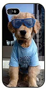 iPhone 5 / 5s Hipster dog with blue glasses - black plastic case / dog, animals, dogs