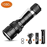 VOLADOR Dive Light, 1080Lumens Scuba Diving Flashlight, Rechargeable Underwater Flashlight Submarine Torch Light with 18650 Battery and Charger